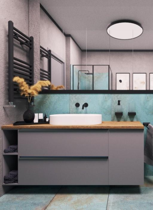 łazienka, umywalka naszafce, lustro